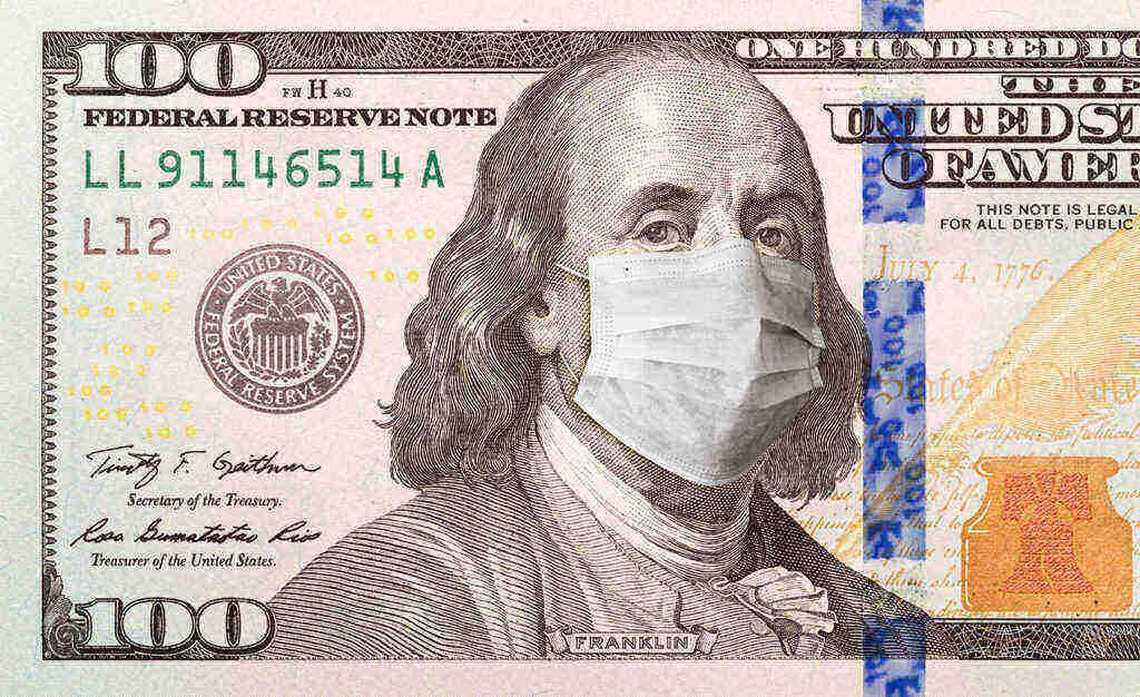 100 dollar bill with Franklin wear a mask