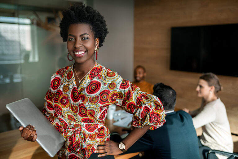 Young, attractive african american woman about to head into meeting