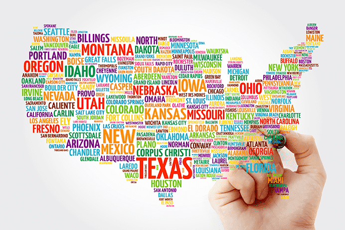 Map of the US made up of the state names and popular cities within