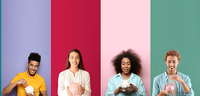 young multicultural entrepreneurs holding piggy banks on different colored backgrounds
