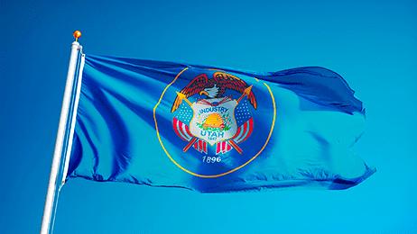 Utah flag flying in the wind