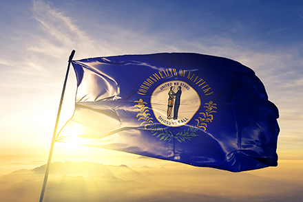 LLC Kentucky state flag waving in the wind.