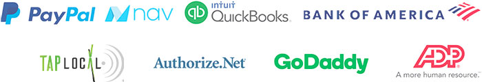 Paypal, Quickbooks, Bank of America, Authorize.net, NAV, GoDaddy, ADP